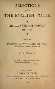 Cover of: The Cowper anthology, 1775-1800 A.D