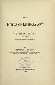Cover of: The ethics of literary art