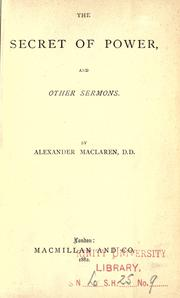 Cover of: The secret of power, and other sermons