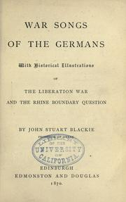 Cover of: War songs of the Germans