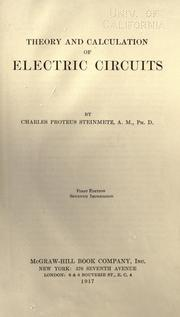 Cover of: Theory and calculations of electrical circuits