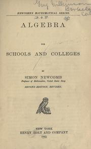 Cover of: Algebra for schools and colleges