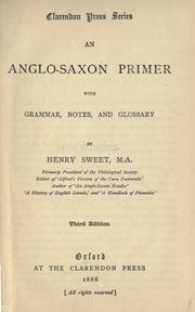Cover of: An Anglo-Saxon primer: with grammar, notes, and glossary
