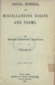 Cover of: Critical, historical, and miscellaneous essays and poems