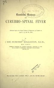 Cover of: Lumleian Lectures on cerebro-spinal fever