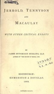 Cover of: Jerrold, Tennyson and Macaulay, with other critical essays