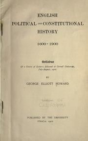 Cover of: English political and constitutional history, 1600-1900