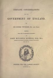 Cover of: Certaine considerations upon the government of England