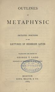 Cover of: Outlines Of Metaphysic