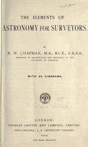 Cover of: The elements of astronomy for surveyors by Robert William Chapman