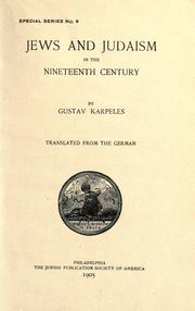 Cover of: Jews and Judaism in the nineteenth century