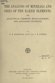 Cover of: The analysis of minerals and ores of the rarer elements