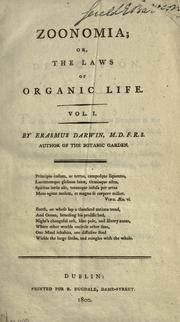 Zoonomia, or, The laws of organic life by Erasmus Darwin