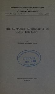 Cover of: The supposed autographa of John the Scot