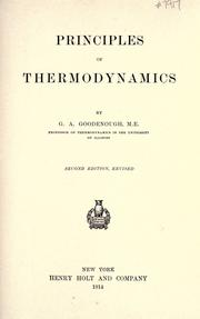 Cover of: Principles of thermodynamics by