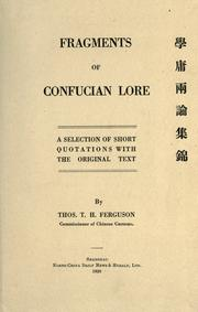 Cover of: Fragments of Confucian lore: a selection of short quotations