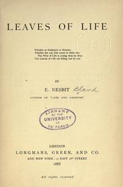 Cover of: Leaves of life