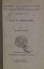 Cover of: Tests of timber beams
