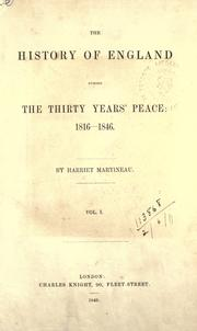 Cover of: The history of England during the thirty years' peace