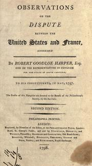 Observations on the dispute between the United States and France by Robert Goodloe Harper