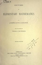 Cover of: Lectures on elementary mathematics
