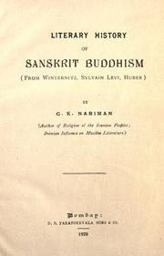 Cover of: Literary history of Sanskrit Buddhism