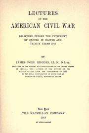 Cover of: Lectures on the American Civil War
