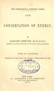 The conservation of energy by Stewart, Balfour