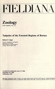 Cover of: Tadpoles of the forested regions of Borneo