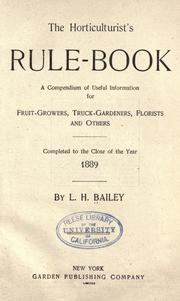 Cover of: The horticulturist's rule-book