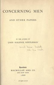 Cover of: Concerning men, and other papers: By the author of John Halifax, gentleman.