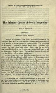 Cover of: The primary causes of social inequality