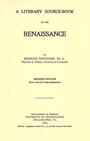 Cover of: A literary source-book of the Renaissance