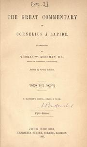 Cover of: The Great commentary of Cornelius à Lapide | Cornelius à Lapide
