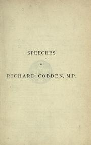 Speeches on questions of public policy by Richard Cobden