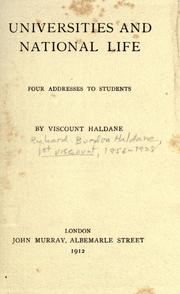 Cover of: Universities and national life: four addresses to students