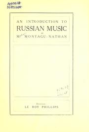 Cover of: An Introduction to Russian Music