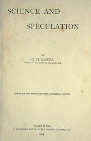 Cover of: Science and speculation