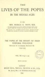 Cover of: The lives of the popes in the early middle ages | Horace K. Mann