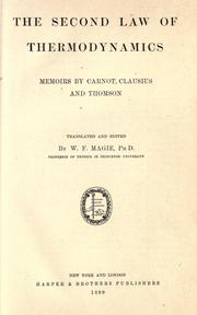 Cover of: The second law of thermodynamics