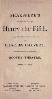 Cover of: Shakespere's Historical play of Henry the Fifth by William Shakespeare