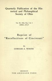 "Cover of: Reprint of ""Recollections of Cincinnati"" by Worth, Gorham A."