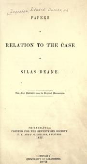 Cover of: Papers in relation to the case of Silas Deane |