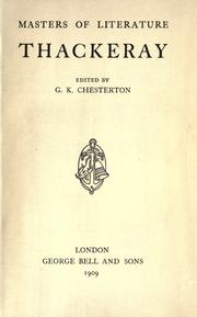 Cover of: Thackeray: Edited by G.K. Chesterton.