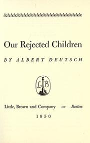 Cover of: Our rejected children