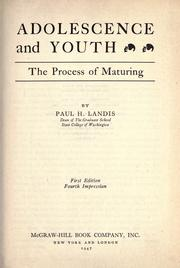 Cover of: Adolescence and youth