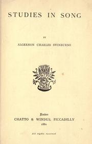 Cover of: Studies in song