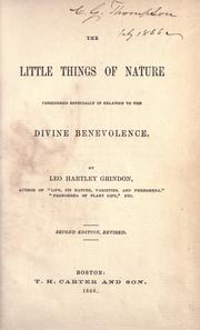 Cover of: The little things of nature: considered especially in relation to the divine benevolence