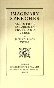 Cover of: Imaginary speeches