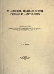 Cover of: An arithmetic treatment of some problems in analysis situs
